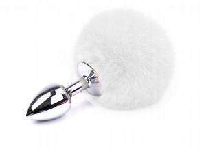 Perfect Lover Anální kolík králičí ocásek, bílý, ocelový, velikost S